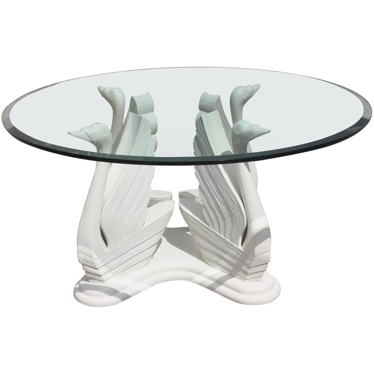 MidCentury Modern Wood Swan Ivory Finish Round Dining Table Glass - Glass top mid century dining table