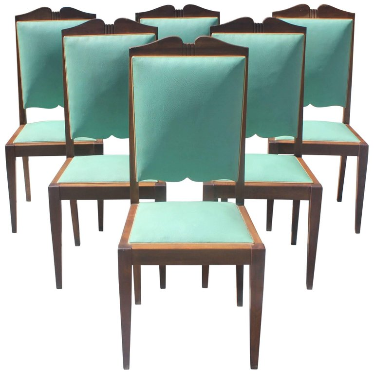 Astounding Set Of Six French Art Deco Solid Mahogany By Jules Leleu Machost Co Dining Chair Design Ideas Machostcouk