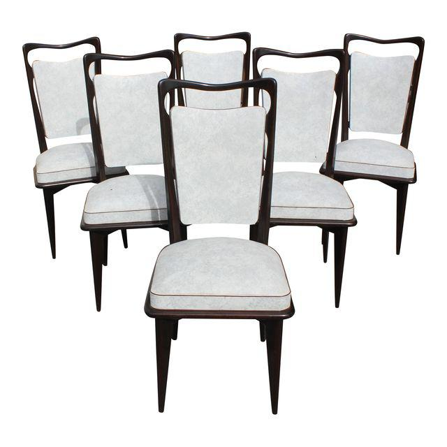 prev  sc 1 st  French Art Deco Furniture & Set of Six French Art Deco Solid Macassar Ebony Dining Chairs circa ...