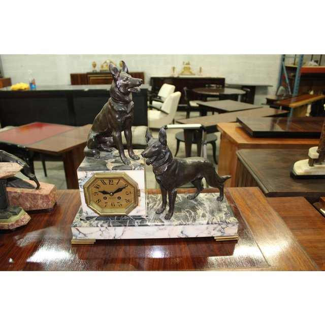 Large French Art Deco Bronze Clock Two Dog Sculpture, circa 1940s ...