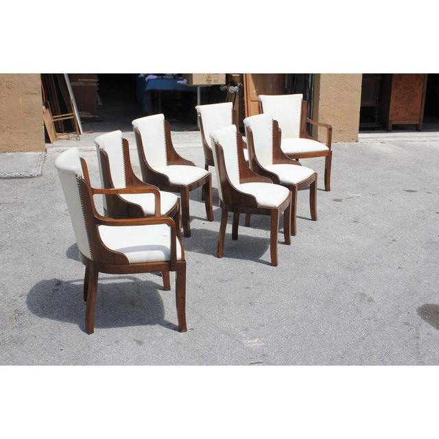 Excellent Set of Seven French Art Deco Solid Walnut Dining Chairs Style of  IA57