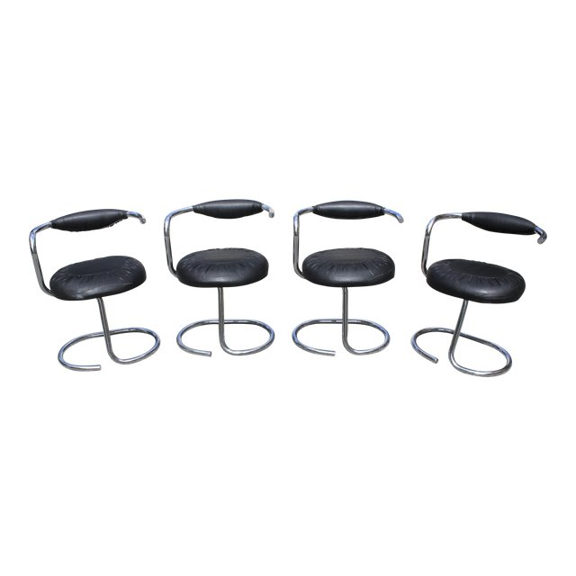 Incredible Beautiful Set Of 4 French Art Modern Chrome Dining Chair Caraccident5 Cool Chair Designs And Ideas Caraccident5Info