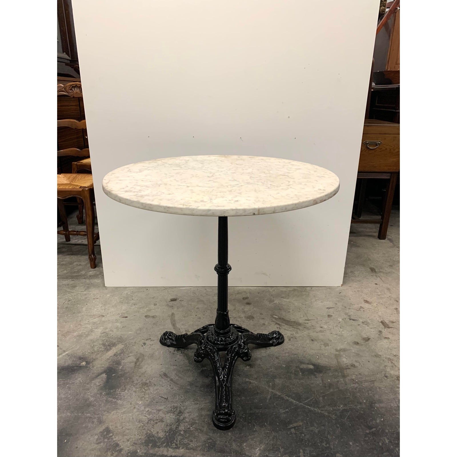 1930s Vintage French Art Deco Cast Iron Marble Top Bistro Dining Table French Art Deco